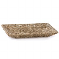 """12"""" Small Rectangular Woven Seagrass & Wire Tray"""