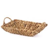 "12"" Small Rectangular Woven Hyacinth Handled Tray"