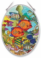 "7"" x 5"" Medium Oval Multicolor Tropical Reef Fish Glass Suncatcher"