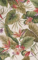 1 ft. 8 in. x 2 ft. 6 in. Ivory White and Multicolor Tropical Paradise Colonial Rug