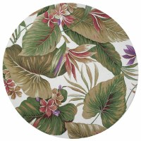 7 ft. 6 in. Round White and Multicolor Tropical Paradise Colonial Rug