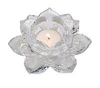 "5"" Clear Lotus Tealight Holder"