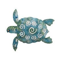 "6"" Small Blue & Green Metal Sea Turtle Plaque"