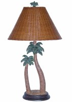 "32"" Brown and Green Carved Double Palm Lamp"