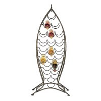 """46"""" Large Brown Metal Wire Fish Shaped Wine Bottle Rack"""