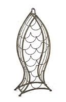 """29"""" Medium Brown Metal Wire Fish Shaped Wine Bottle Rack"""