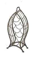 """20"""" Small Brown Metal Wire Fish Shaped Wine Bottle Rack"""