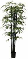 """84"""" Potted Black Trunk Green Artificial Bamboo"""