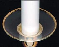 """3"""" Round Clear Glass Gold Rim Bobeche"""
