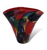 "16"" Dark Red Multicolor Mosaic Flared Glass Vase"