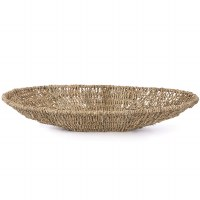 """18"""" White Oval Woven Seagreass Tray"""