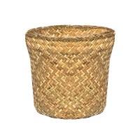 """10"""" Round Woven Straw Planter Basket"""