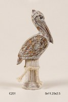 "11"" Distressed Finish Perched Pelican Sculpture"