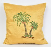 """16"""" Square Gold Palm Tree Pillow"""