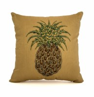 "10"" Square Gold Pillow with Brown and Green Sequins Pineapple"