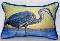 "11"" x 14"" Yellow and Blue Heron Outdoor Pillow"