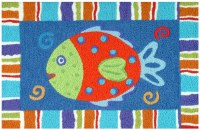 1 ft. 9 in. x 2 ft. 9 in. Multicolor Smiling Fish Rug