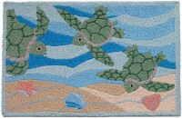 1 ft. 9 in. x 2 ft. 9 in. Green Sea Turtle Trio Swimming Rug