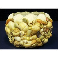 """3"""" Round Multicolor Mixed Shell and Glass Votive Holder"""