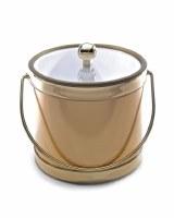 "7"" Metallic Brushed Gold 3 Quart Lidded Ice Bucket with Handle"