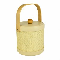 """7"""" Brown Wood and Natural Wicker 3 Quart Lidded Samoa Ice Bucket with Handle"""