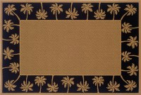 2 ft. 5 in. x 4 ft. 5 in. Black Palm Tree Border Lanai Rug