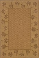 "1' 8"" x 3' 7"" Beige Palm Tree Border Lanai Rug"