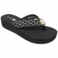 Size 6 Black Foam Taylor Wedge Strap Flip Flops