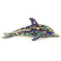 "4"" Blue Multicolor Mosaic Dolphin Magnet"
