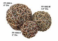 """3"""" Red & White Twine Rope Orb"""