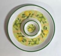 """14"""" Round White Lemon Lime Melamine Chip and Dip"""