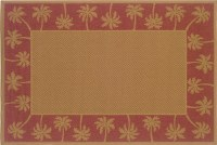 2 ft. 5 in. x 4 ft. 5 in. Red and Tan Palm Tree Border Lanai Rug