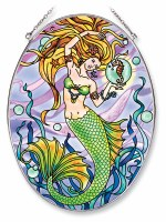 """9"""" x 7"""" Large Oval Multicolor Mermaid and Seahorse Glass Suncatcher"""