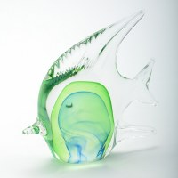 "6"" Clear & Green Glass Fish"