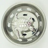 """3"""" Round Silver Sea Turtle Sink Strainer"""
