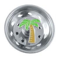 """3"""" Round Green Enamel Palm Tree Sink Strainer"""