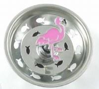 """3"""" Round Pink Enamel Flamingo Sink Strainer"""