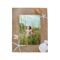 "4 x 6"" Beige Photo Frame with Sand Dollar, Shell and Starfish"