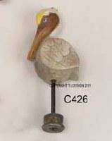 Brown Pelican Lamp Finial