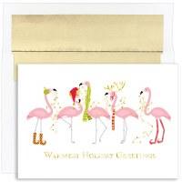 "6"" x 8"" Box of 18 Fashionista Flamingo Christmas Greeting Cards"