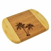 """6"""" x 8"""" Two Tone Palm Tree Wood Cutting Board"""