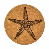"4""  Brown Cork Starfish Coaster"