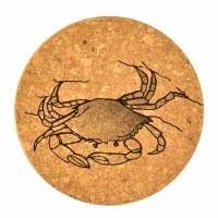 "4""  Brown Cork Crab Coaster"