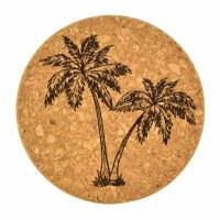 "4""  Brown Cork Palm Coaster"