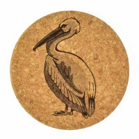"4""  Brown Cork Pelican Coaster"