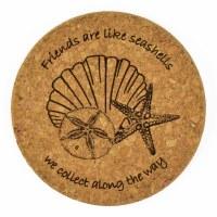 "4""  Brown Cork 'Friends' Seashells Coaster"