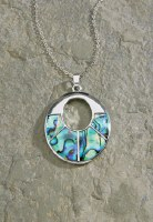 "18"" Silver Pewter & Paua Open Oval Necklace"