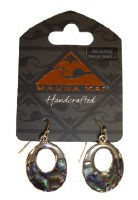 Silver Pewter & Paua Oval Earrings