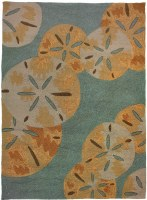 3 ft. x 5 ft. Gold and Blue Gray Sand Dollars Rug