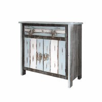 "32"" 2 Door 1 Drawer White & Aqua Driftwood Cabinet"